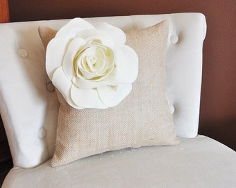 Rustic Decor Ivory Corner Rose Flower on Burlap Pillow Accent Pillow Throw Pillow 16 x 16 Toss Pillow Rustic Pillow Country Farmhouse Decor