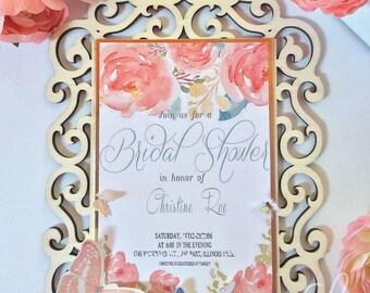 Bridal Shower garden and butterflies invitations