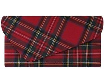 Royal Stewart Asymmetric Pure Wool Red Tartan Clutch Bag
