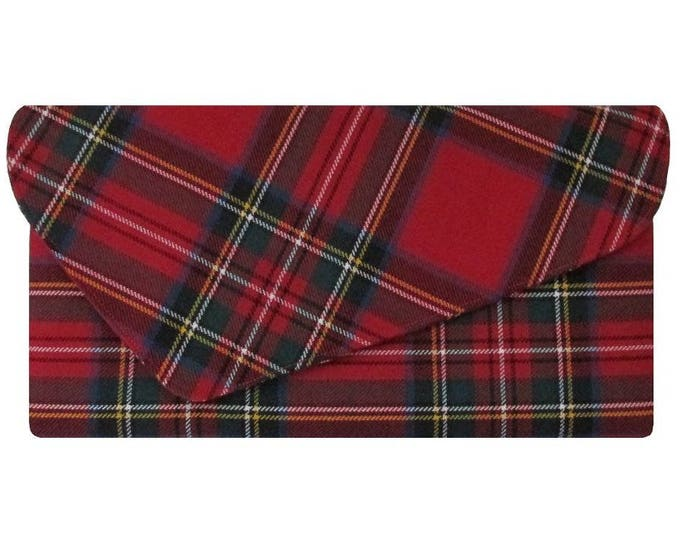 Royal Stewart Asymmetric Pure Wool Red Tartan Clutch Bag