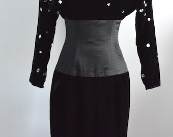 BLACK VELVET Velour Bejeweled Evening Dress with Crystals Mid Length Size 4 1980s Runway