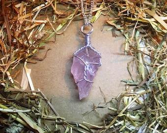 Raw Rose-Quartz Handmade Crystal Necklace