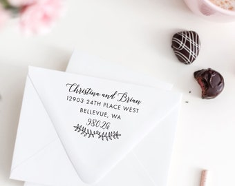 Calligraphy & Laurel Address Stamp