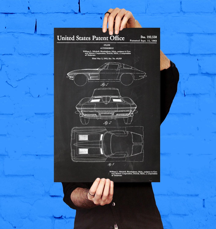 Corvette stingray car poster corvette stingray patent zoom malvernweather Gallery