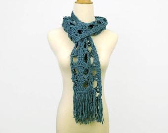 boho scarf, blue green aqua scarf, crochet lace scarf, skinny fashion decorative scarf, spring scarf, summer scarf, vegan knit wear SpunWool