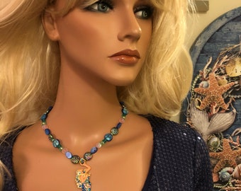 Aurora Borealis mermaid necklace blues greens and pinks 16&1/2 inches