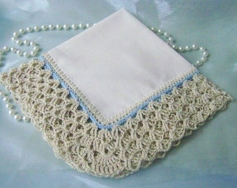 Bridal handkerchief, Bridal hanky, Bridal hankie, Something blue, Hand Crochet Lace, Custom Embroidered, Off white hanky, ready to ship