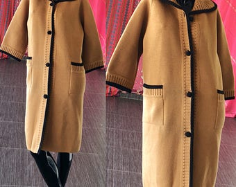 Mod Sweater Jacket Vintage 60s Italy Knit Brocade Wool Avant Garde Coat
