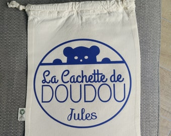 Pochon the hiding place of Doudou + first name child / child bag / pouch child / storage child / customizable