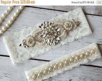 ON SALE Wedding Garter Set, Bridal Garter Belt- Off White Lace Garter-Rhinestone Crystal Bridal Garter-Pearl Blue Flower Garter - Something