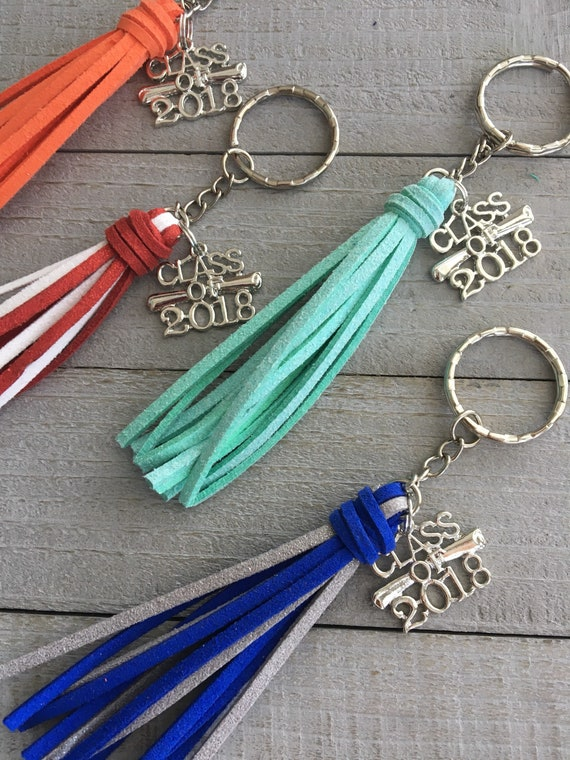 Graduation Gift Class of 2018  Choose Solid or Two-tone Mini Tassel Keyring - College or High School Grad Gift  Faux Leather Tassel Key Ring