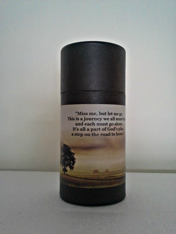 """Black Eco-Friendly Cremation Urn Scattering Tube w/Telescopic Lid - Biodegradable - Style """"Hallowed Ground"""""""