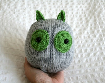 Hand Knit Plush Green and Grey Owl