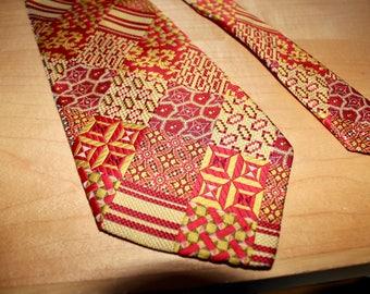 Wide Disco Necktie 1970s Mark of California - Retro Vintage Menswear - Gold Red