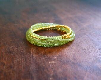 Peridot Beaded Gypsy Bracelet  Spiritual Jewelry Genuine Gemstone Yoga Inspired Sparkly Faceted Delicate Green Crystal Green Wrap Bracelet