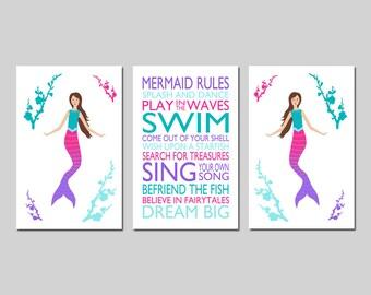 MERMAID Wall Art Mermaid Bedroom Art MERMAID RULES Print Mermaid Quote Mermaid Bathroom Art Mermaid Decor - Set of 3 - Choose Your Colors
