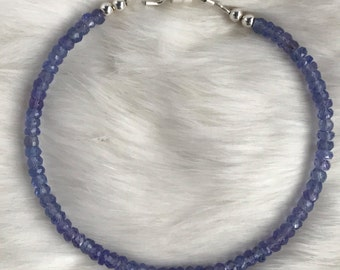 Genuine 3.5mm Tanzanite Gemstone bracelet with magnetic clasp