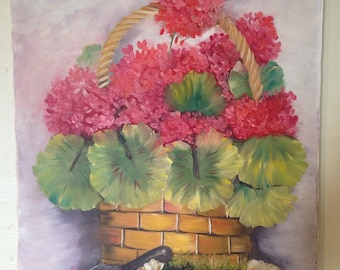 GERANIUMS OIL PAINTING