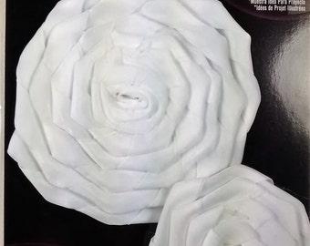 RR-123 White Satin Ribbon Roses