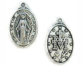 BULK 30 Mother Mary Necklace Silver Miraculous Medal 25x16mm by TIJC SP0358B