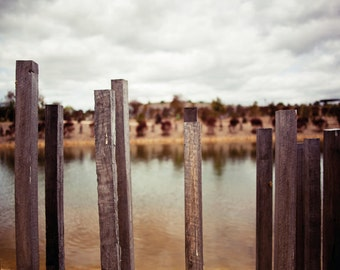 The Fence at the Lake: A6 Photography Art Print  (Nature, garden photography)