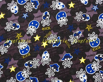 C353 - 140cmx100cm Cotton Fabric - Skull Rock and star