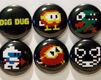 """Set of 6 Dig Dug 1"""" Pinback Buttons"""