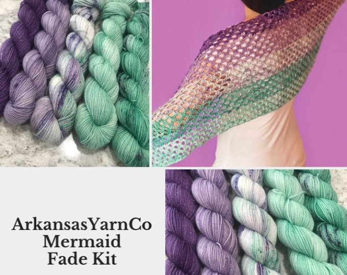 DTO Mermaid Fade Shawl Kit/AshleyLeitherDesigns/Sparkle yarn/Crochet Shawl/fingering weight 50g skeins/fade kits/ variegated yarn/hand dyed