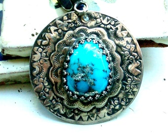 Freeform Kingman Turquoise with Pyrite Inclusions Pendant