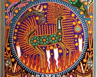 "23.5"" Huichol painting, Mexican decor, Mexican wall art, Huichol art, Native art, Mexican painting, Mexican folk art, Mexican art, 60-116"