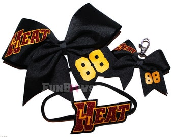 Three piece set Cheer softball football soccer - bow headband and keychain - by FunBows !