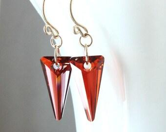 Red Swarovski  Earrings Gold  Filled  Crystal  Jewelry  Elegant Swarovski Jewelry Evening  Red Crystal Earrings   Dagger Gifts For Her