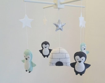 Grey and light mint penguins and igoo baby mobile, arctic baby mobile - cute little nursery mobile made to order
