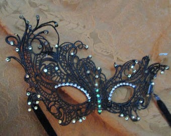 embellished black lace mask