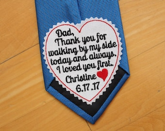 "Father of the Bride Tie Patch, tie label - 3"" wide, wedding gift for dad, Beautiful Monogrammed Tie Patches. Father of the Bride Gift. TLH3"