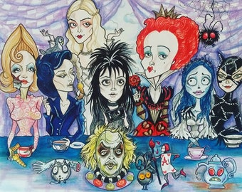 Tea Party Burton Ladies Horror Fantasy Lowbrow Art Print by Leslie Mehl 8.5 X 11