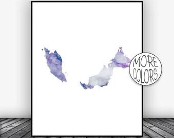 Malaysia Print Malaysia Art Print Watercolor Map Malaysia Map Decor Wall Art Prints Marble Wall Art  ArtPrintsZoe