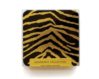 Zebra - Letterpress Coasters, Set of 8