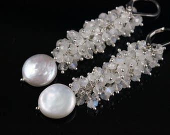 Moonstone Earrings, Coin Pearl Earrings, Rainbow Moonstone, Icy, Bridal, White Creamy, Gemstone Cluster, Sterling Silver, June Birthstone