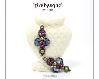 Bead pattern beaded earrings Arabesque made with Arcos and Minos par Puca beads, Diamonduo beads, 2-hole cabochons, drops and seed beads
