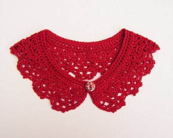 Pomegranate Crochet Peter Pan Collar, Cotton Detachable Lace Accessory