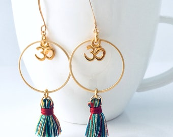 Dangle & Drop Earrings, Tassel Earrings, Tassel, Earrings, Yoga Jewelry, OM Earrings, Inspirational Jewelry, Multi-Color