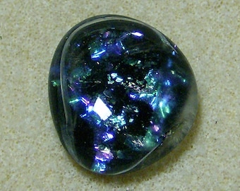 Dichroic Glass Cabochon - Exquisite Black with Multicolored Dichroic, Handmade by JewelryArtistry - DC860