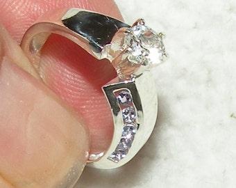 White Sapphire and Tanzanite Engagement Ring