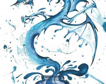 Blue Ink Dragon Art Print Poster (various sizes)