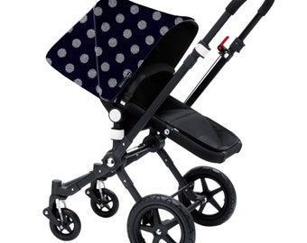 "Bugaboo Cameleon, Bee, Donkey, Frog Custom canopy hood cover ""Polka dot navy and grey wool"" by Stroll N Style"