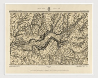Old Yosemite National Park Map Art Print 1884 Antique Map Archival Reproduction