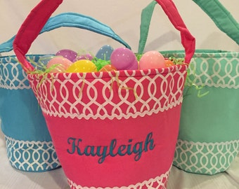 Monogrammed Cloth Easter Basket with Handle -- ONLY ONE LEFT
