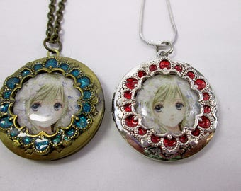 Made to Order Custom Locket Necklace Iridescent Manga Locket Custom Portrait Art Print Keepsake Necklace Treasured Memorial Gift Sentimental