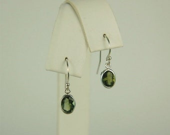 MothersDaySale Moldavite Faceted Dangle Earrings Sterling Silver 7x5mm Oval 1.20ctw In Backset Drop Setting Natural Untreated
